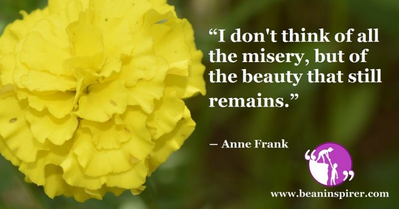 It Is Not Appreciable To Think About Misery; You Need To Think About The Beauty That Still Remains