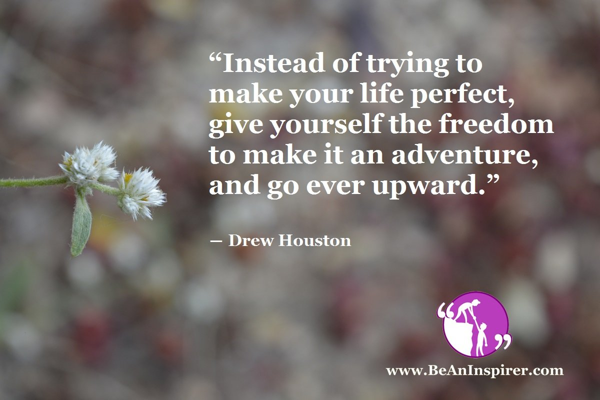 """Instead of trying to make your life perfect, give yourself the freedom to make it an adventure, and go ever upward."" ― Drew Houston"