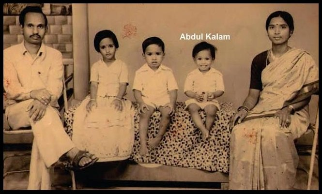 Childhood photo of Dr. A. P. J. Abdul Kalam with his family