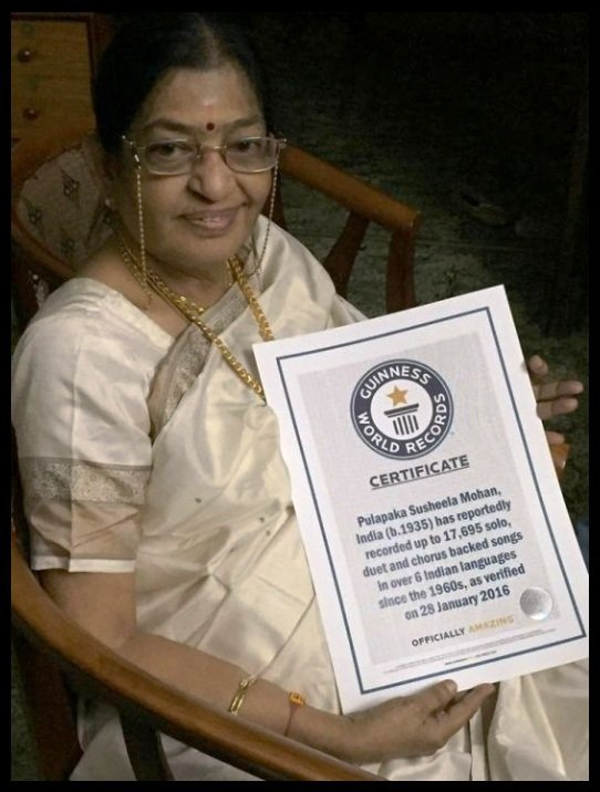 Pulapaka-Susheela-with-Guinness-world-records-certificate-Be-An-Inspirer