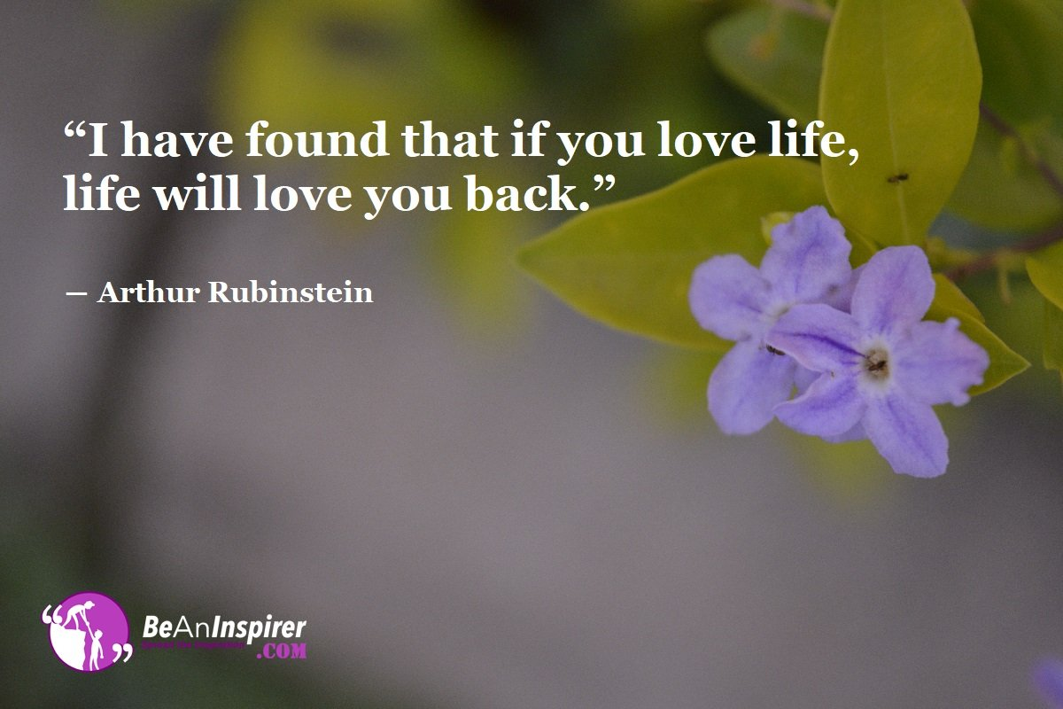 Have Love For Life, And You Will Get Love Back Because That Is What Life Is All About