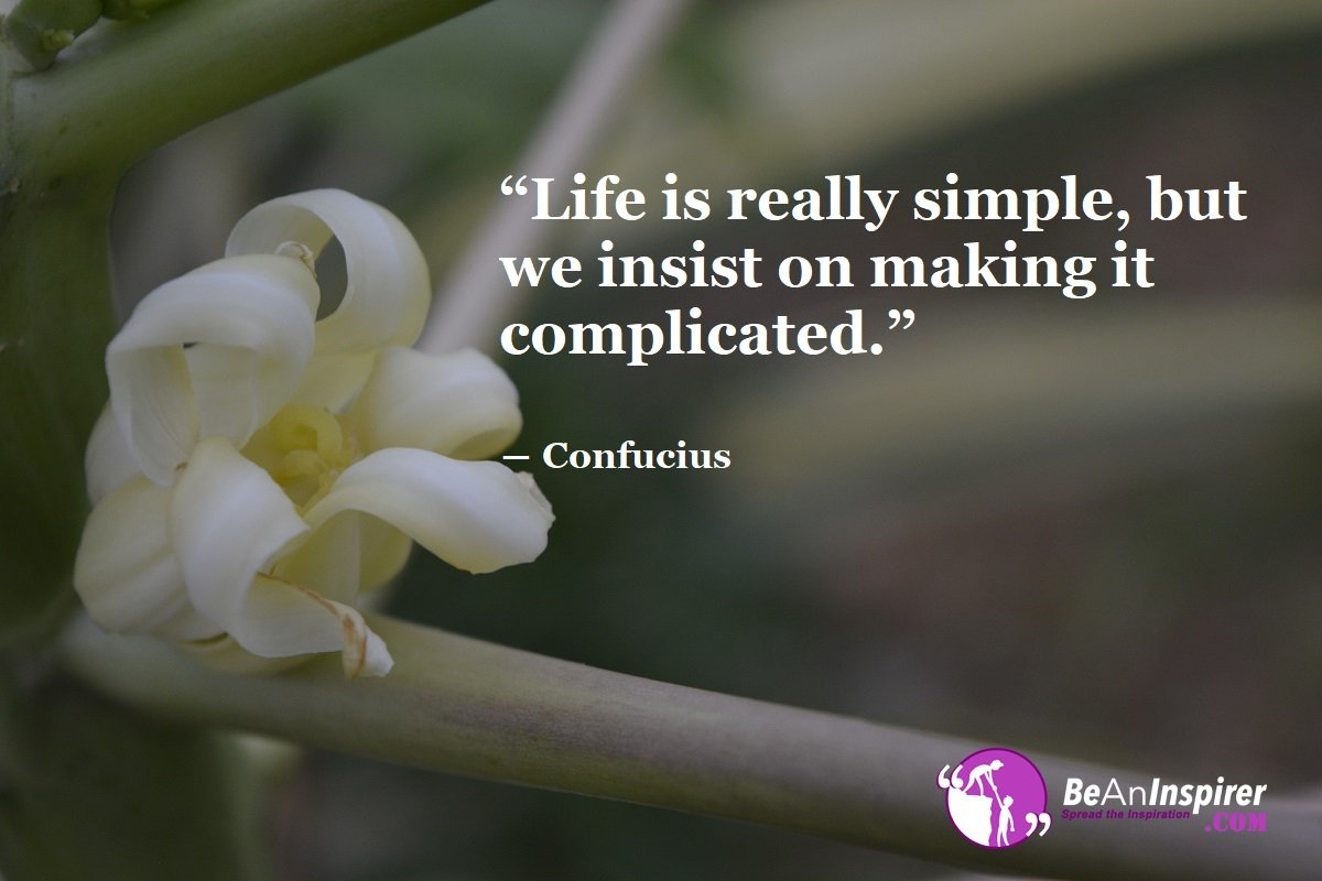 Enjoy Life's Simplicity Whenever Possible; Complications are Unnecessary and Life, in its Simplicity, is Best Enjoyed